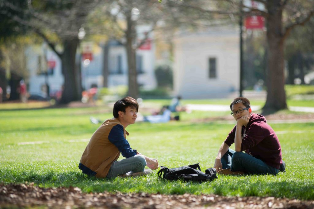 Two Students on the Quad