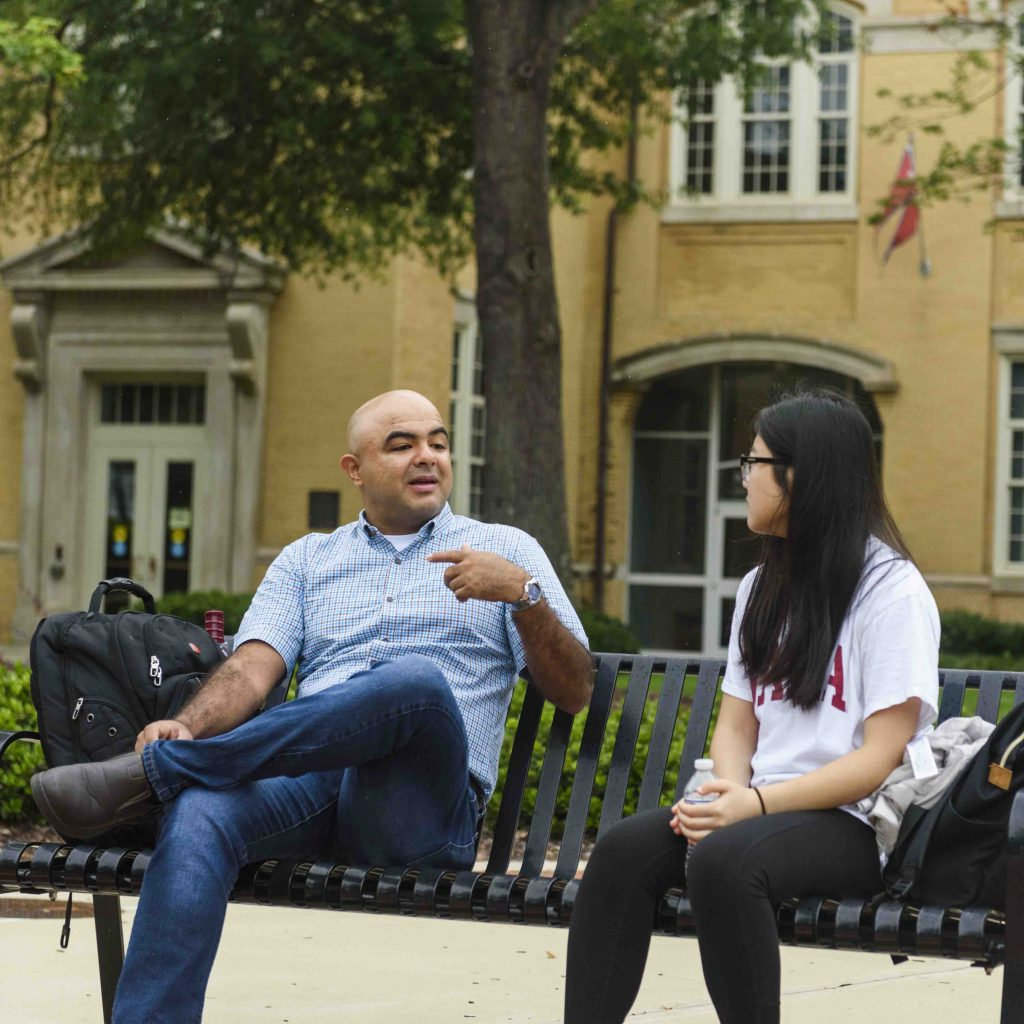 International students talking outside