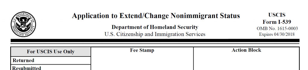 Sample I-539 change of status form