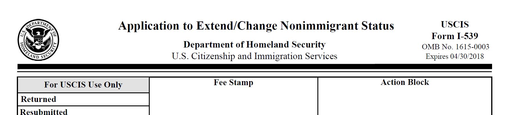 Sample I-539 change of status form
