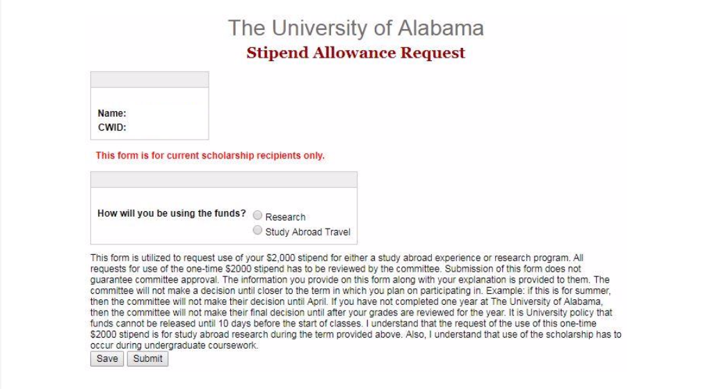 Study Abroad Stipend UA Request form