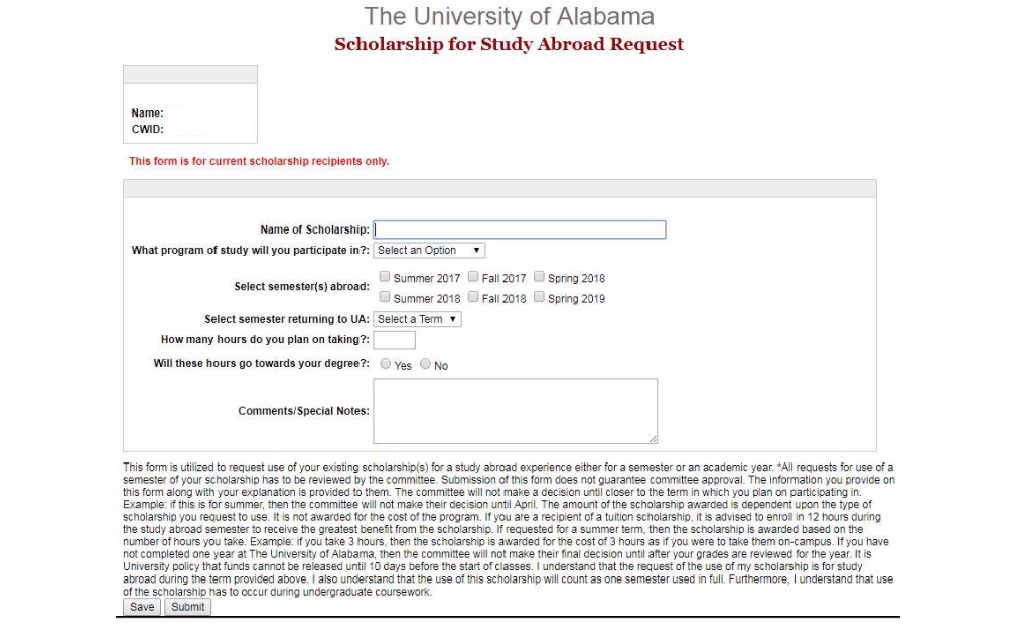 Study Abroad Scholarship UA Request Form