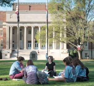 UA students sitting on the quad during the spring