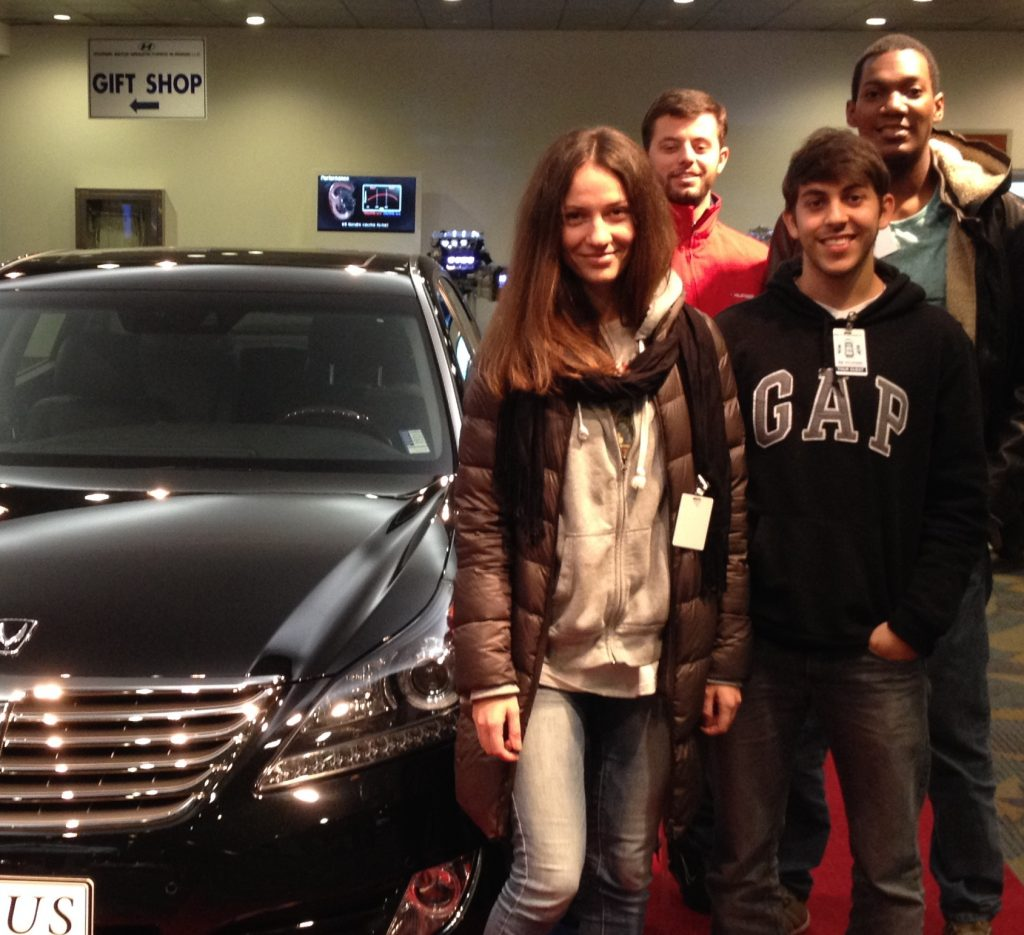 English and Business students visiting an automobile manufacturing plant