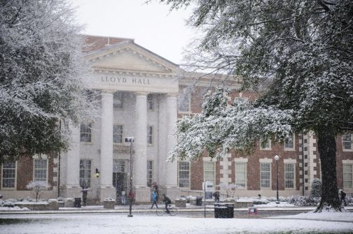 UA campus with snow