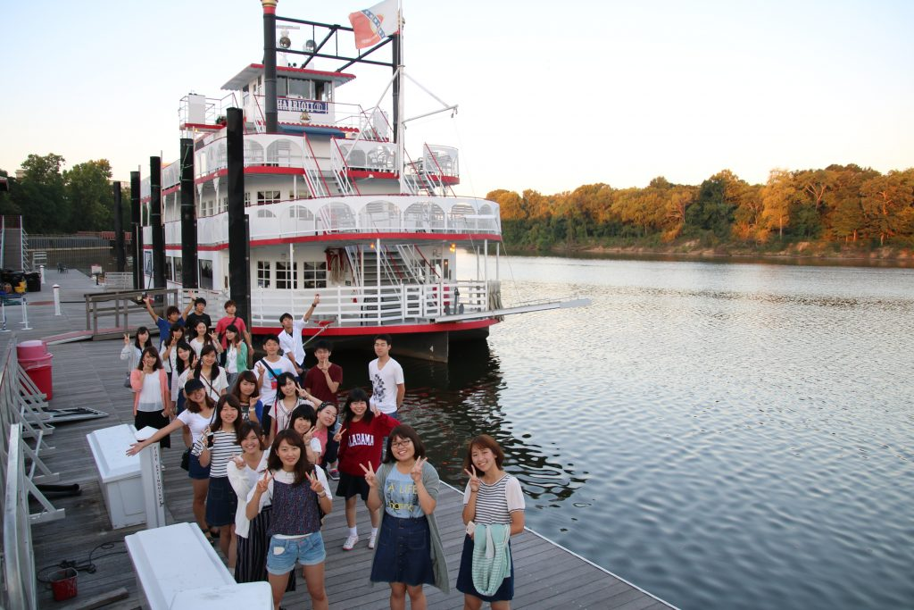 ELI Japanese students in front of the Steamboat Natchez in New Orleans