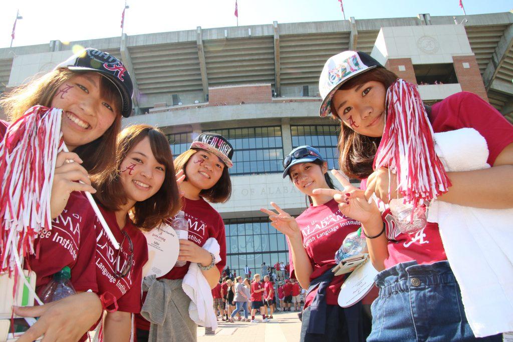 ELI students in front of Bryant-Denny Stadium