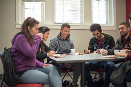 Students talking during International Coffee Hour
