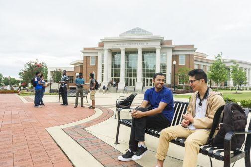 International students in front of the Ferguson Student Center