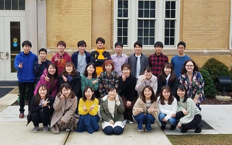 Chiba University Students in front of B.B. Comer