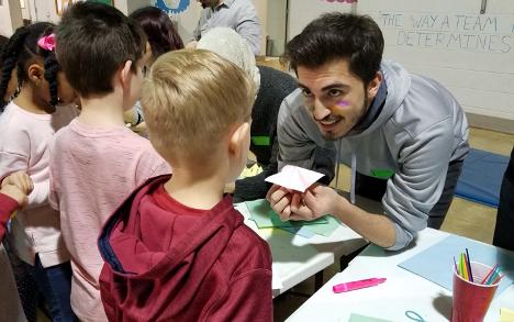 International Students Teaching Elementary Students