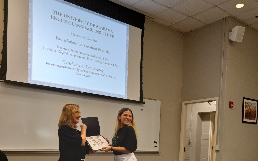 ELI Student from Venezuela receives her Proficiency Certificate